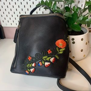 Dream control faux leather embroidered floral